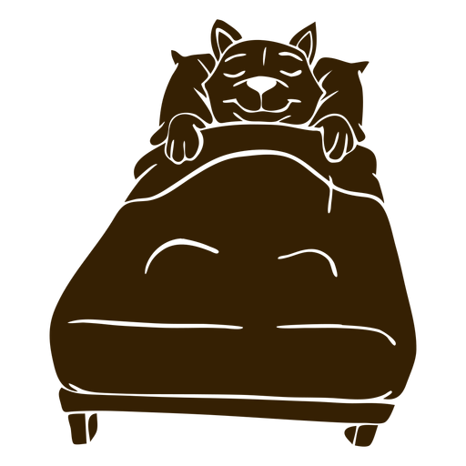 Cat sleeping bed detailed silhouette