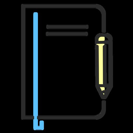 Cuaderno lápiz trazo plano Transparent PNG