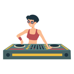 DJ mulher misturador plana
