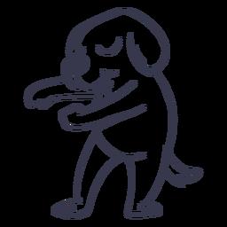 Danza de perro bailando trazo