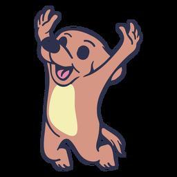 Cachorro pulando feliz golpe plana