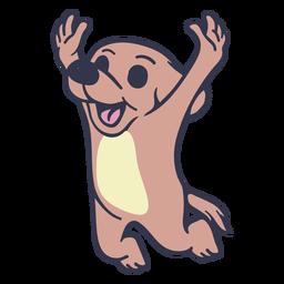 Cachorro pulando feliz curso plana