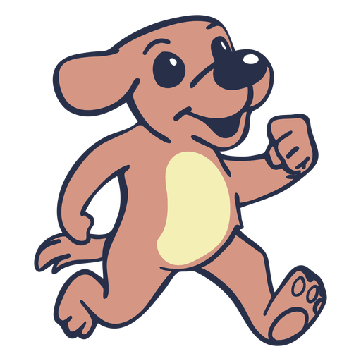 Dog running flat stroke Transparent PNG