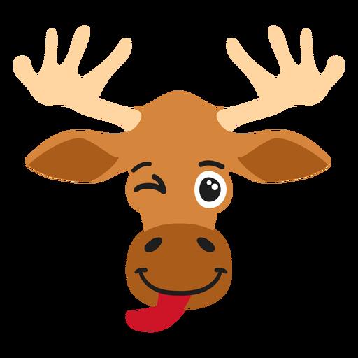 Elk moose muzzle glad flat sticker Transparent PNG