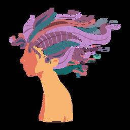 Rosto cabelo longa mulher plana