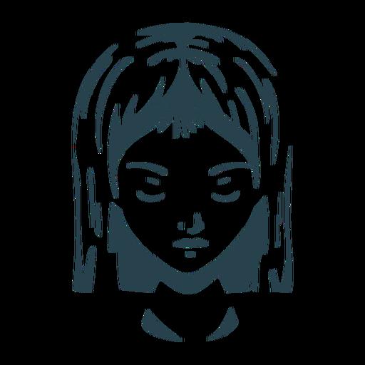 Cara cabello mujer silueta detallada Transparent PNG