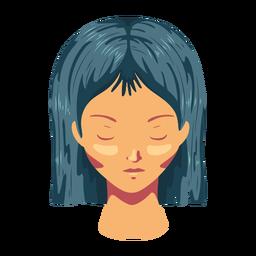 Mulher de cabelo rosto plana