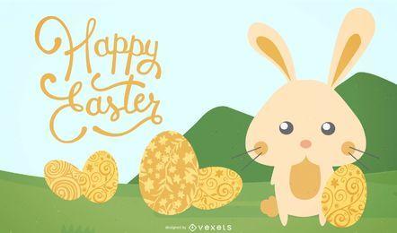 Golden Eggs Easter Background