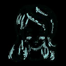 Ilustração de linha do rosto cabelo mulher