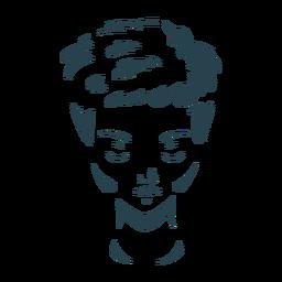 Silhueta de mulher de cabelo rosto detalhada