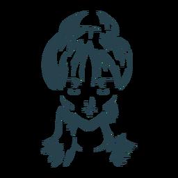 Gesichtshaarfrauenknotenschattenbild einzeln aufgeführt