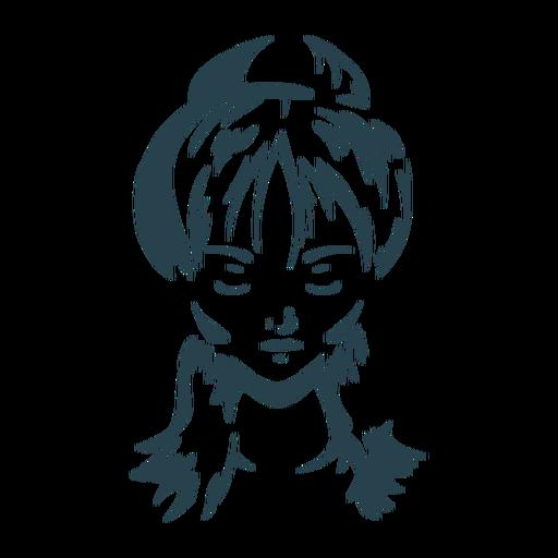 Cara cabello mujer moño silueta detallada Transparent PNG
