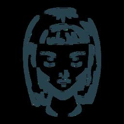 Rostro mujer pelo bob corte silueta detallada