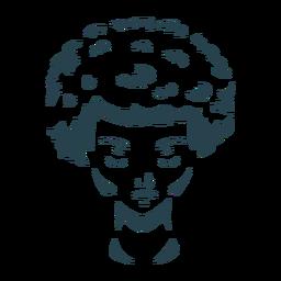 Rostro mujer cabello silueta detallada