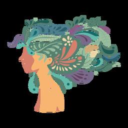 Cara mujer cabello largo plano