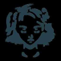 Silhueta de cabelo mulher rosto detalhada