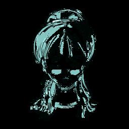 Línea de ilustración de cara mujer pelo moño