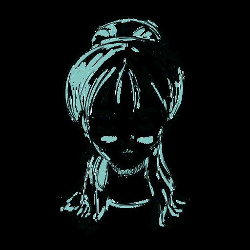 Línea de ilustración de cara mujer pelo moño Transparent PNG