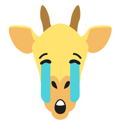 Bozal de jirafa triste pegatina plana