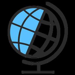 Curso plana do globo planeta