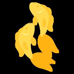 Par de peces dorados plano