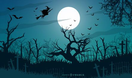 Desenho de cenário de feliz dia das bruxas
