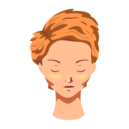 Mulher de rosto de cabelo liso