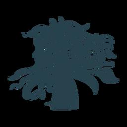 Silueta detallada de mujer de pelo largo cara
