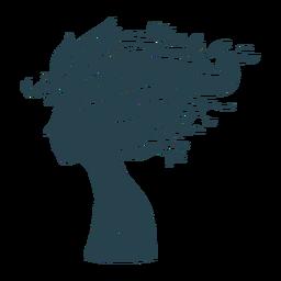 Cabello largo rostro de mujer silueta detallada