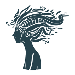 Silhueta detalhada de cabelo comprido de mulher