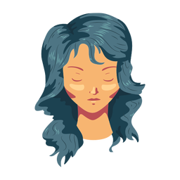 Cabelo longo rosto de mulher plana