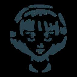 Silueta detallada de cara de mujer de cabello