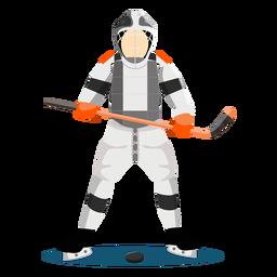 Jogador de hóquei jogador vara plana
