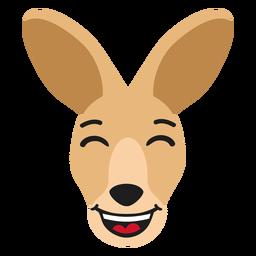 Canguru focinho feliz etiqueta plana