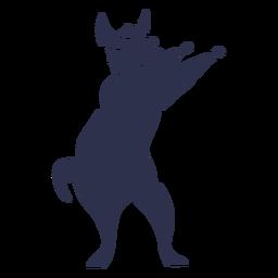 Llama bailando danza silueta detallada