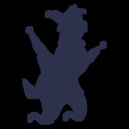 Llama saltando feliz silueta detallada