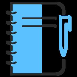 Caneta de caderno com traço plano