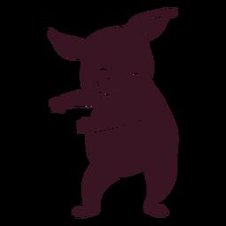 Baile de cerdo bailando silueta detallada