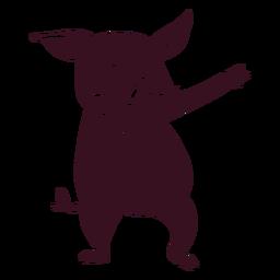 Cerdo bailando danza silueta detallada