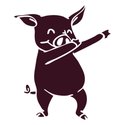 Pig dancing dance detailed silhouette