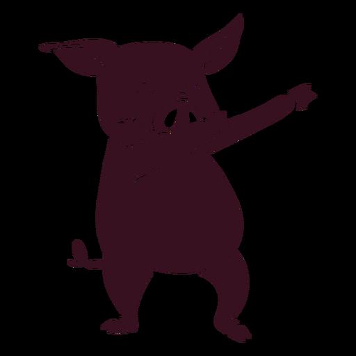 Silhueta detalhada de dança de porco dançando