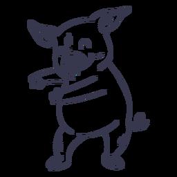 Cerdo bailando trazo de baile