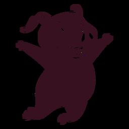 Cerdo saltando feliz silueta detallada