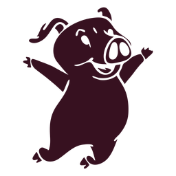 Pig jumping happy detailed silhouette