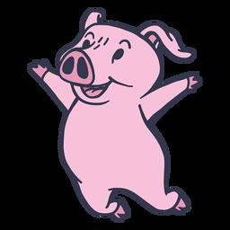 Cerdo saltando feliz trazo plano