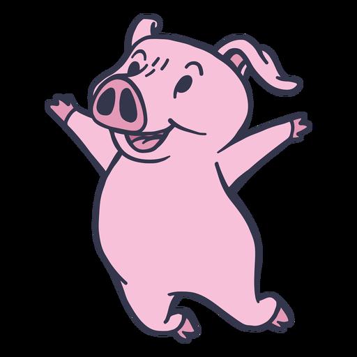 Cerdo saltando feliz trazo plano Transparent PNG