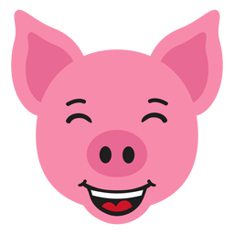 Bozal de cerdo feliz pegatina plana