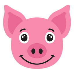 Pig muzzle joyful flat sticker