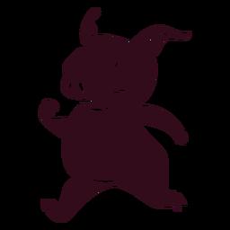 Cerdo corriendo silueta detallada