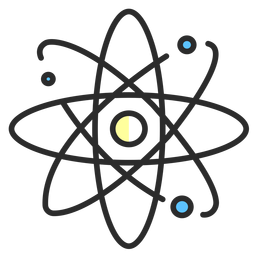 Planetarisches Atommodell mit flachem Hub